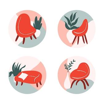 Concepto de colección de logo de muebles