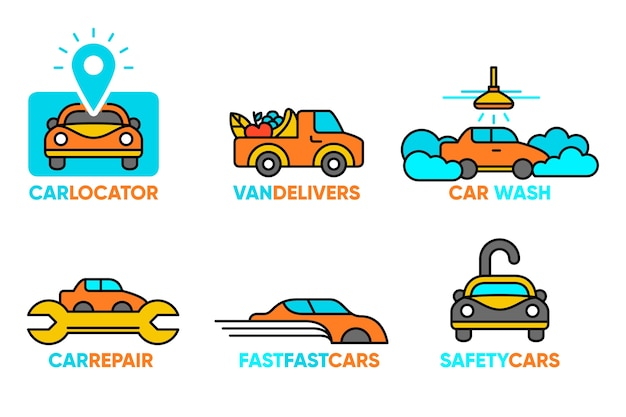 Concepto de colección de logotipo de coche de diseño plano