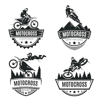 Concepto de colección de logotipos de motocross