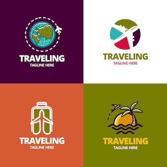 Concepto de colección de logotipos de viajes