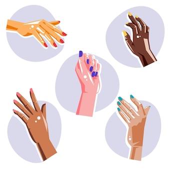 Concepto de colección de manos de manicura