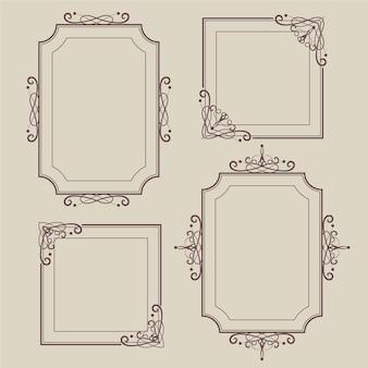 Concepto de colección de marco ornamental vintage