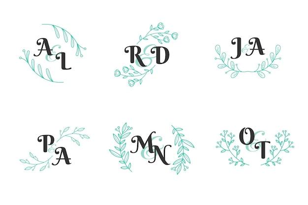 Concepto de colección de monograma de boda floral