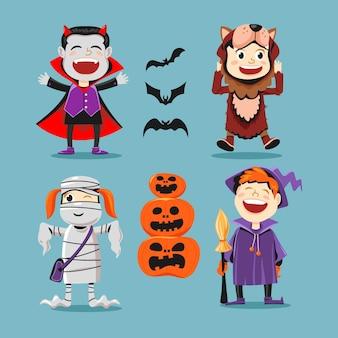 Concepto de colección de niños de halloween