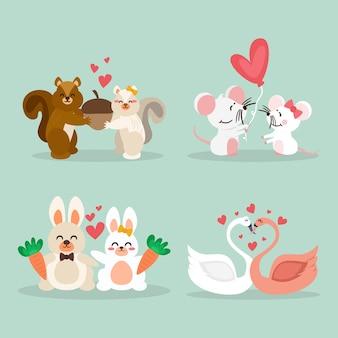 Concepto de colección de pareja de animales del día de san valentín