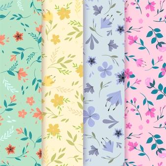 Concepto de colección de patrón de primavera de diseño plano