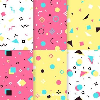 Concepto de colección de patrones coloridos de memphis
