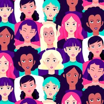 Concepto de colección de patrones del día de las mujeres