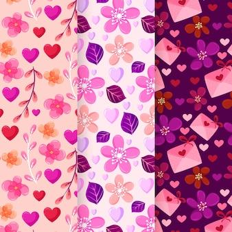Concepto de colección de patrones de día de san valentín de diseño plano