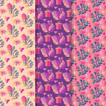 Concepto de colección de patrones del día de san valentín