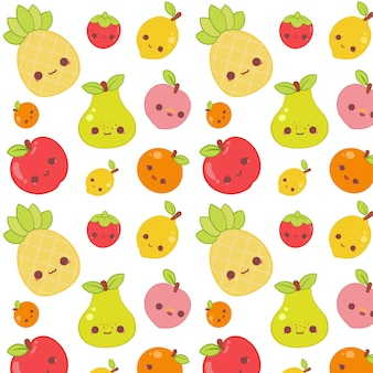 Concepto de colección de patrones de frutas