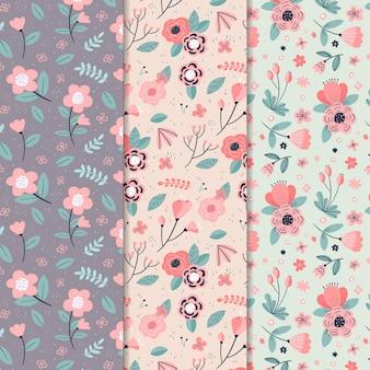 Concepto de colección de patrones de primavera dibujados a mano