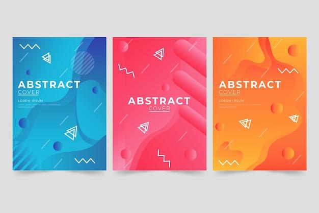 Concepto de colección de portadas de degradado abstracto