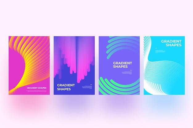 Concepto de colección de portadas de formas abstractas