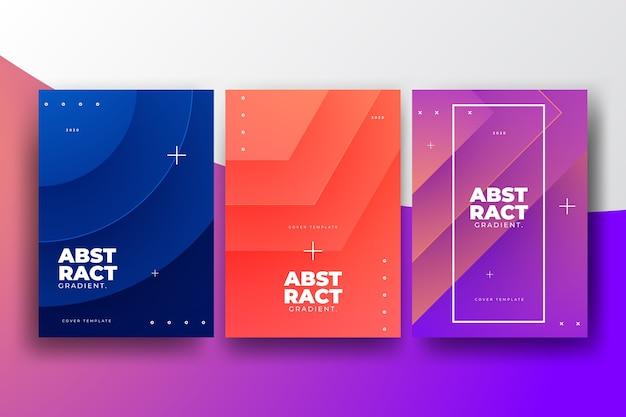 Concepto de colección de portadas de formas gradientes