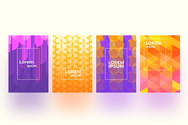 Concepto de colección de portadas geométricas
