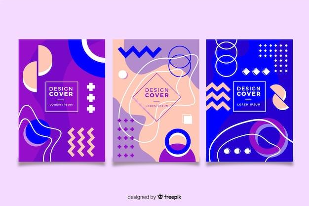Concepto de colección de portadas de memphis para plantilla