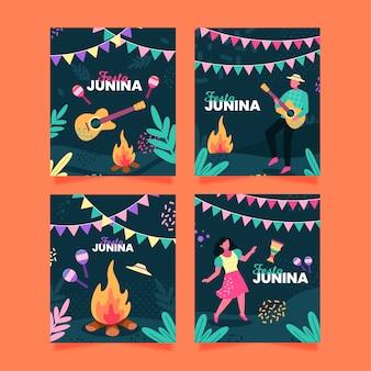 Concepto de colección de tarjetas de festa junina