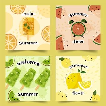 Concepto de colección de tarjetas de verano