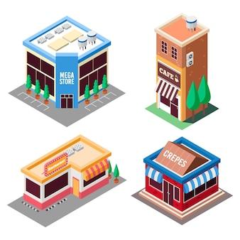 Concepto de colección de tienda isométrica