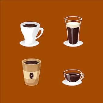 Concepto de colección de tipos de café
