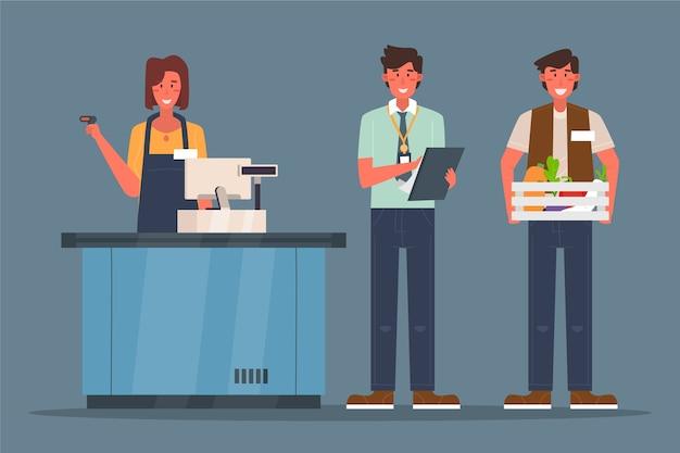 Concepto de colección de trabajadores de supermercado