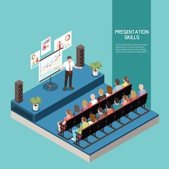 Concepto de color isométrico de habilidades blandas con descripción de habilidades de presentación y reunión de oficina