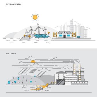 Concepto de color de línea: medio ambiente y contaminación