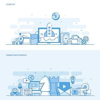 Concepto de color de línea plana: estrategia de inicio y marketing