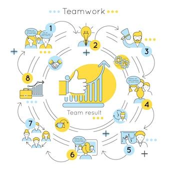 Concepto de color de línea de trabajo en equipo