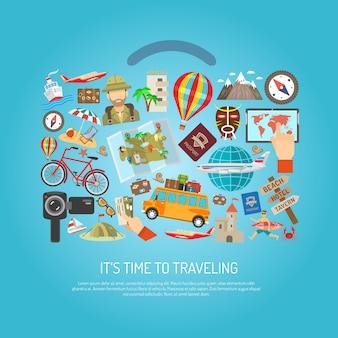 Concepto de color plano de tiempo de viaje