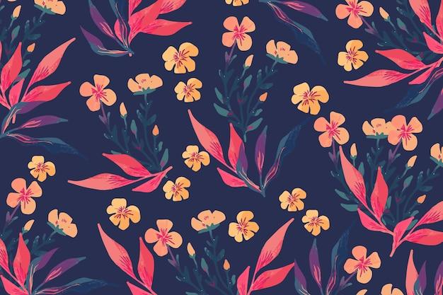 Concepto de coloridas flores dibujadas a mano