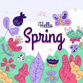 Concepto colorido artístico hola primavera