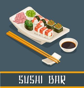 Concepto colorido de la barra de sushi