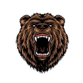 Concepto colorido de cabeza de oso agresivo feroz