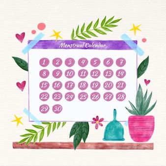 Concepto colorido calendario menstrual