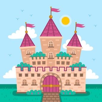 Concepto colorido castillo de cuento de hadas