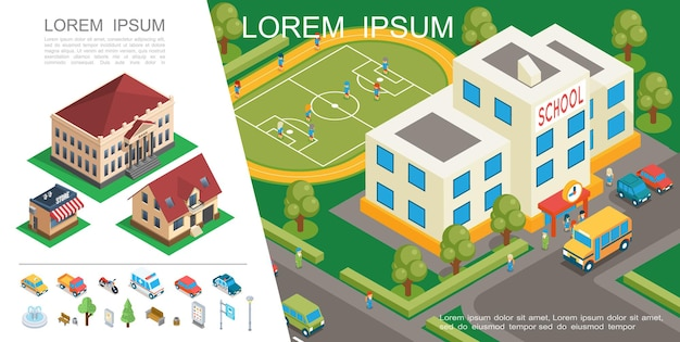 Concepto colorido de la ciudad isométrica con la construcción de escuelas, campo de fútbol, transporte, casas suburbanas, elementos del parque, ilustración
