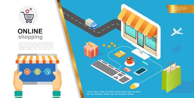 Concepto colorido de comercio electrónico