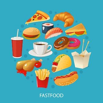 Concepto colorido de comida rápida