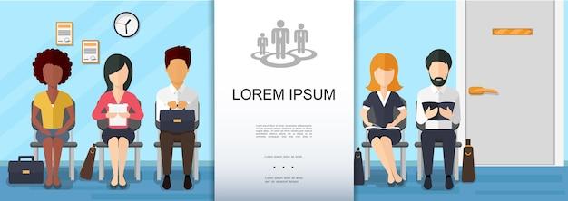 Concepto colorido de contratación empresarial plana