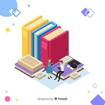 Concepto colorido de educación con vista isométrica