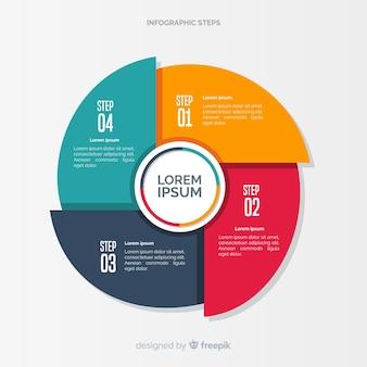 Concepto colorido de pasos infográficos en diseño flat