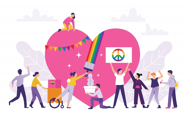 Concepto de un colorido desfile del orgullo, las personas trabajan juntas para el festival lgbt