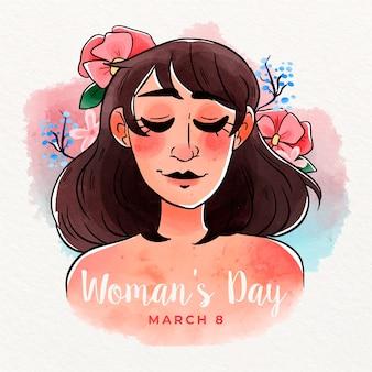 Concepto colorido del día de la mujer acuarela