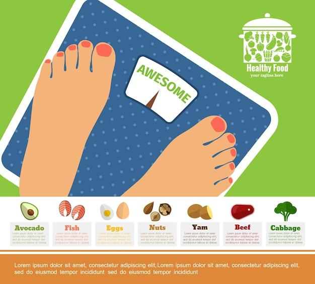 Concepto colorido dieta plana