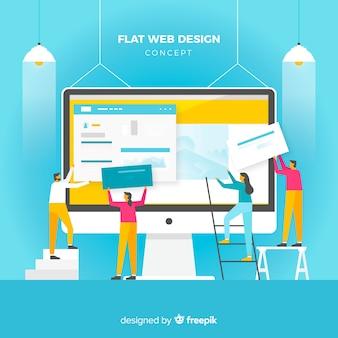 Concepto colorido de diseño web con diseño plano