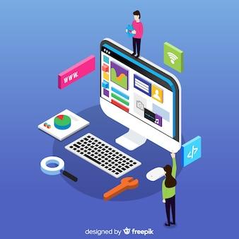 Concepto colorido de diseño web con perspectiva isométrica