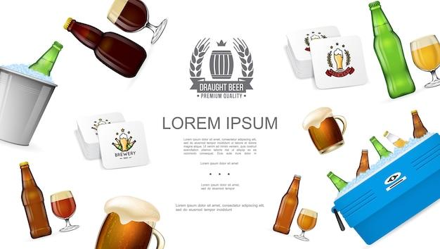 Concepto colorido de elaboración de cerveza realista