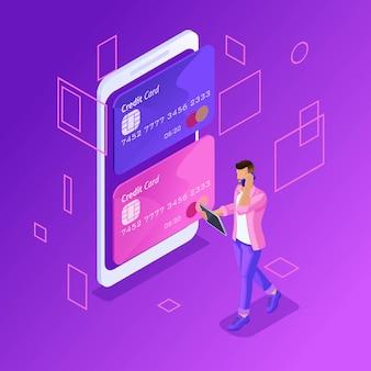 Concepto colorido de gestión de tarjetas de crédito en línea, cuenta bancaria en línea, joven transfiriendo dinero de una tarjeta a otra con un teléfono inteligente